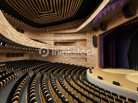 Interior Of The Modern Theater Built In 3d Stock Photo