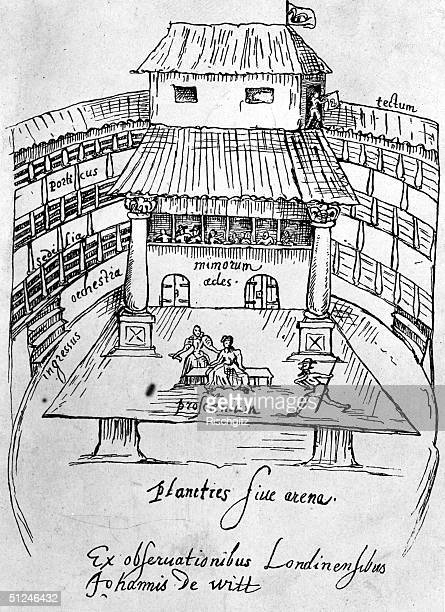 1596 Interior of the Old Swan Theatre Bankside London Original Artwork Drawing by Johannes de Witt in a manuscript volume found at Utrecht University...