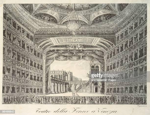 Interior of the opera house 'La Fenice' in Venice [Innenansicht der Oper 'La Fenice' in Vendig Kupferstich 18 Jahrhundert]