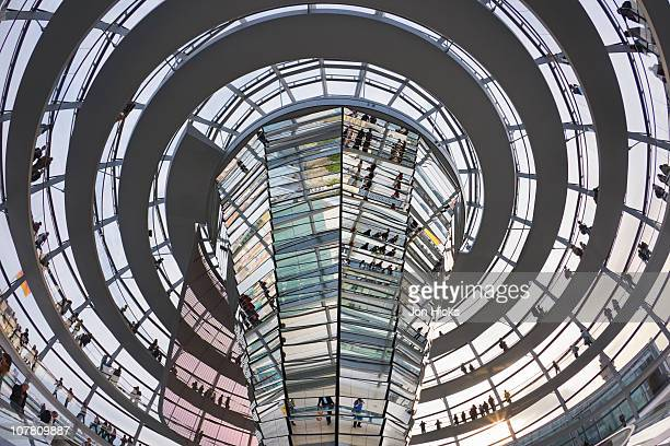 Interior of the Reichstag glass dome.