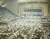 Interior of the Republican National Convention with Herbert Hoover speaking Philadelphia Pennsylvania June 1940