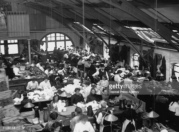 Interior of the sewing department of Frankenburys Factory in Manchester