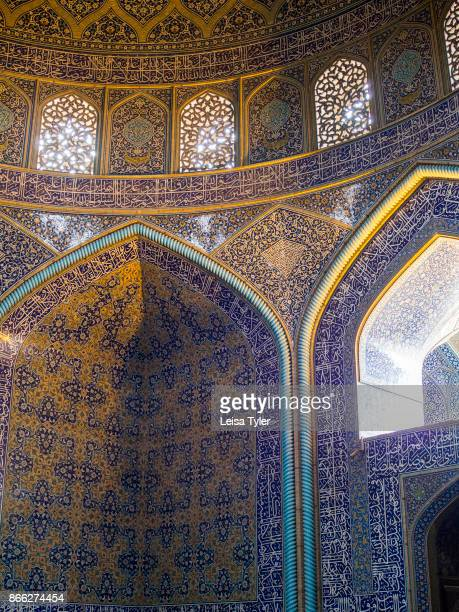 Interior of the Sheikh Lotfollah Mosque at the Maydane Imam Square also known as Naqshe Jahan Square in Esfahan Iran It is a UNESCO World Heritage...