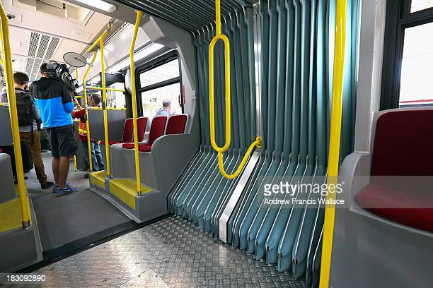 Interior of the Toronto Transit Commission's new articulated bus October 3 2013 The first of buses will begin to seen along the Bathurst St route in...
