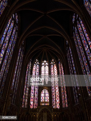 Interior of the Upper Chapel, Sainte Chapelle : Stock Photo
