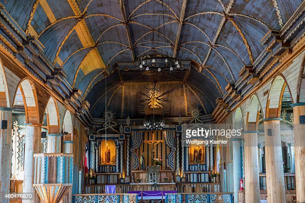 Interior of the wooden Church of Santa María de Loreto de Achao a UNESCO World Heritage Site in Achao on the island of Quinchao Chiloe Island Chile