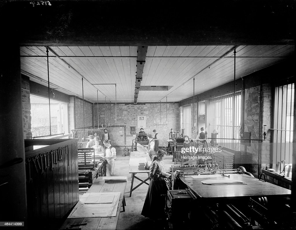 Interior of the workshop showing people at their machines, Church Army Press, Oxford, Oxfordshire, c1860-c1922.