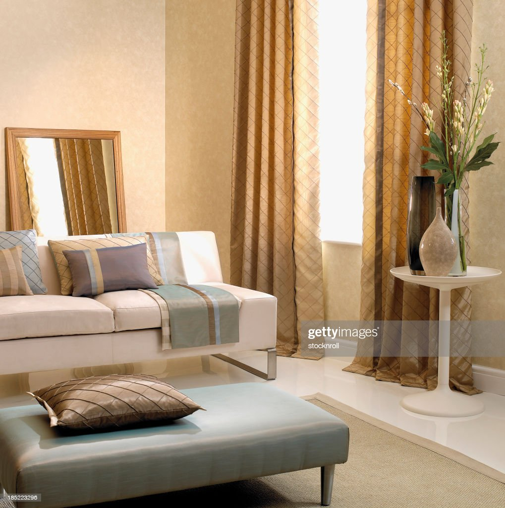 Interior of three seater sofa in formal living room : Stock Photo