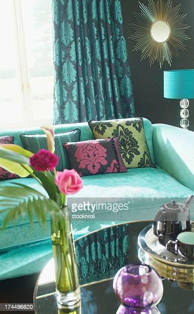 Interior of three seater sofa in living room