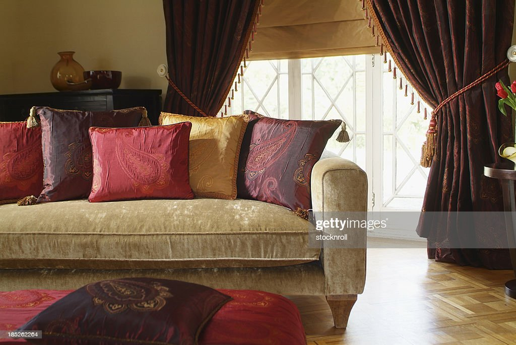 Interior of three seater sofa in living room : Stock Photo