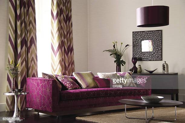 Interior of three seater sofa in living room