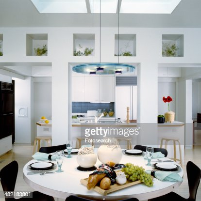 Interior of traditional kitchen with dining table