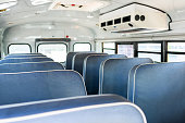 interior of traditional school bus with air condition