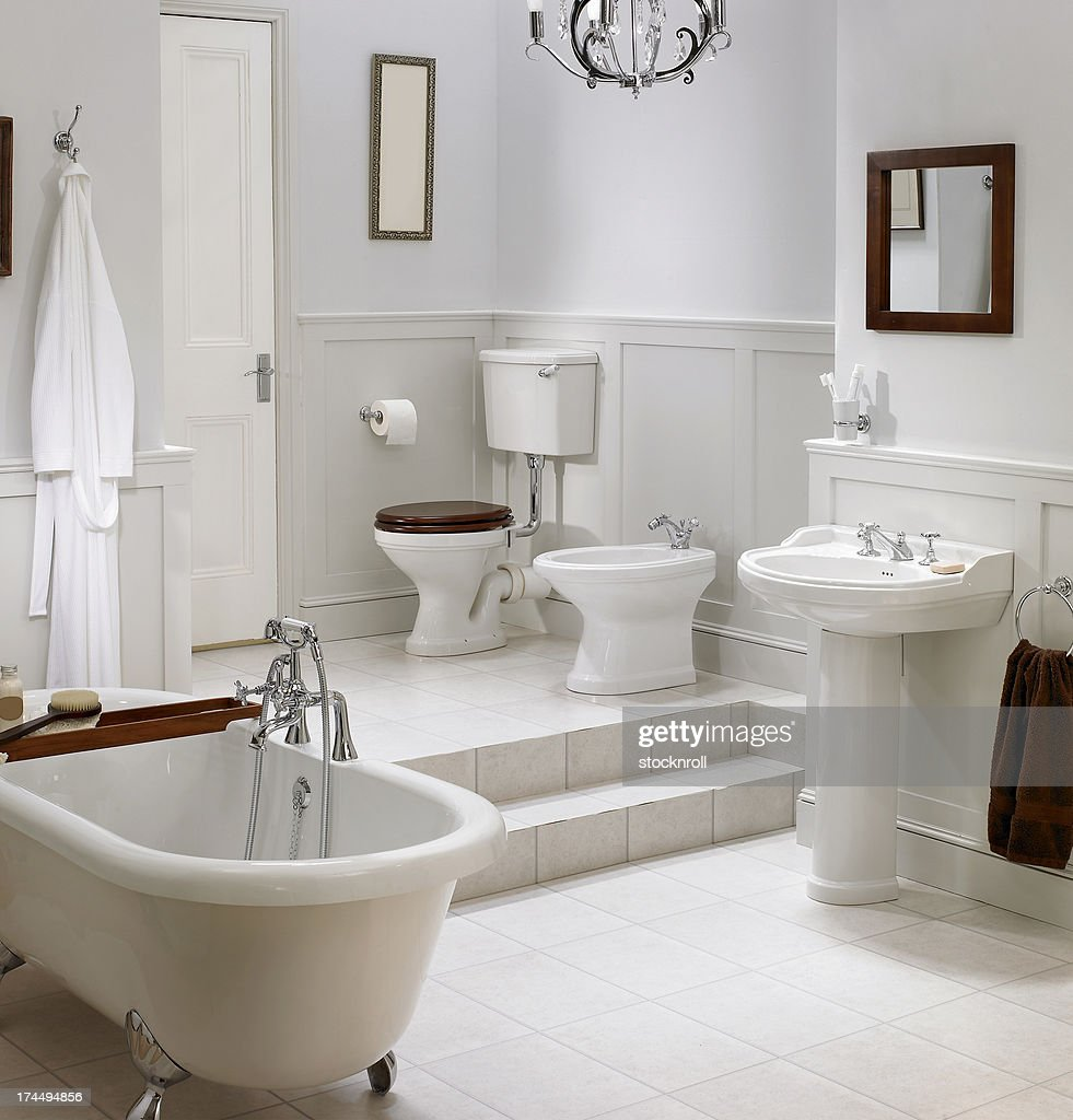 Traditional White Bathrooms Interior Of Traditional White Bathroom Stock Photo Getty Images