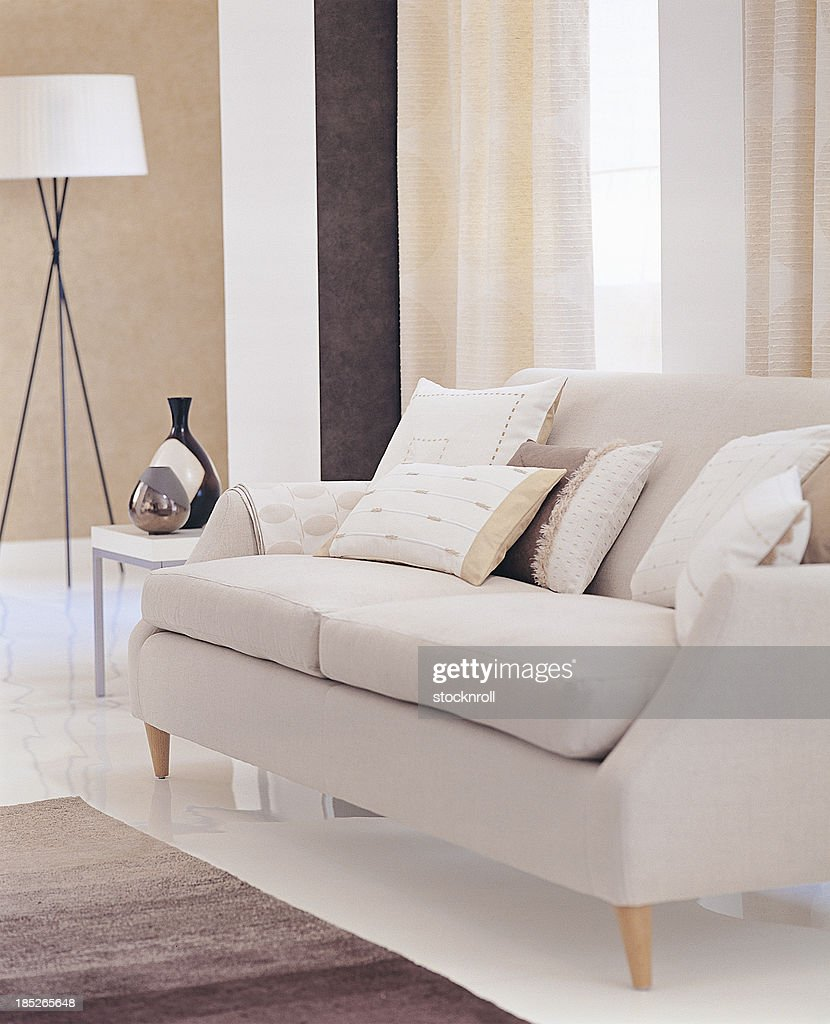 Interior of two seater sofa in a living room : Stock Photo
