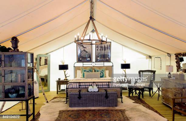 Interior of Wanderlust a 'glamping' tent at Sandy Pines Campground in Kennebunkport