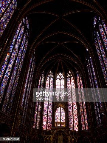 Interior on the Upper Chapel, Sainte Chapelle, Paris : Stock Photo