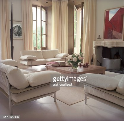 Interior overview of a modern French castle living room
