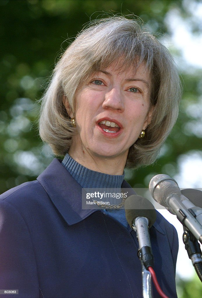 Interior Secretary Gale A. Norton makes a statement before shoveling dirt into a newly planted Oak tree, April 27, 2001 at the U.S. Capitol in Washington, DC. The Oak tree was selected as the national tree by The National Arbor Day Foundation.