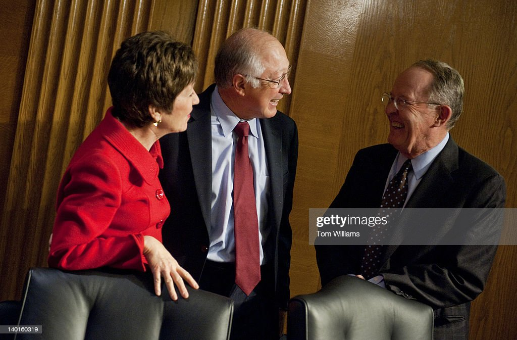 Interior Secretary Ken Salazar, center, talks with Sens. Sue Collins, R-Me., and Lamar Alexander, R-Tenn., before he testified at a Senate Interior, Environment, and Related Agencies Subcommittee hearing in Dirksen Building entitled 'The FY2013 Budget Request for the Department of Interior.'