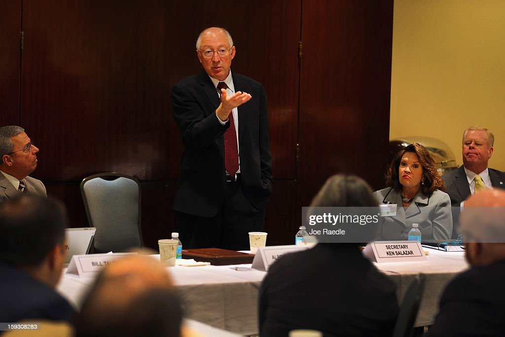 Interior Secretary <a gi-track='captionPersonalityLinkClicked' href=/galleries/search?phrase=Ken+Salazar&family=editorial&specificpeople=228558 ng-click='$event.stopPropagation()'>Ken Salazar</a> speaks during a tourism and conservation discussion with the Greater Miami Chamber of Commerce on January 11, 2013 in Miami, Florida. Salazar answered questions on the federal government possible campaign to persuade people to come to America for the so called 'Medical tourism.'
