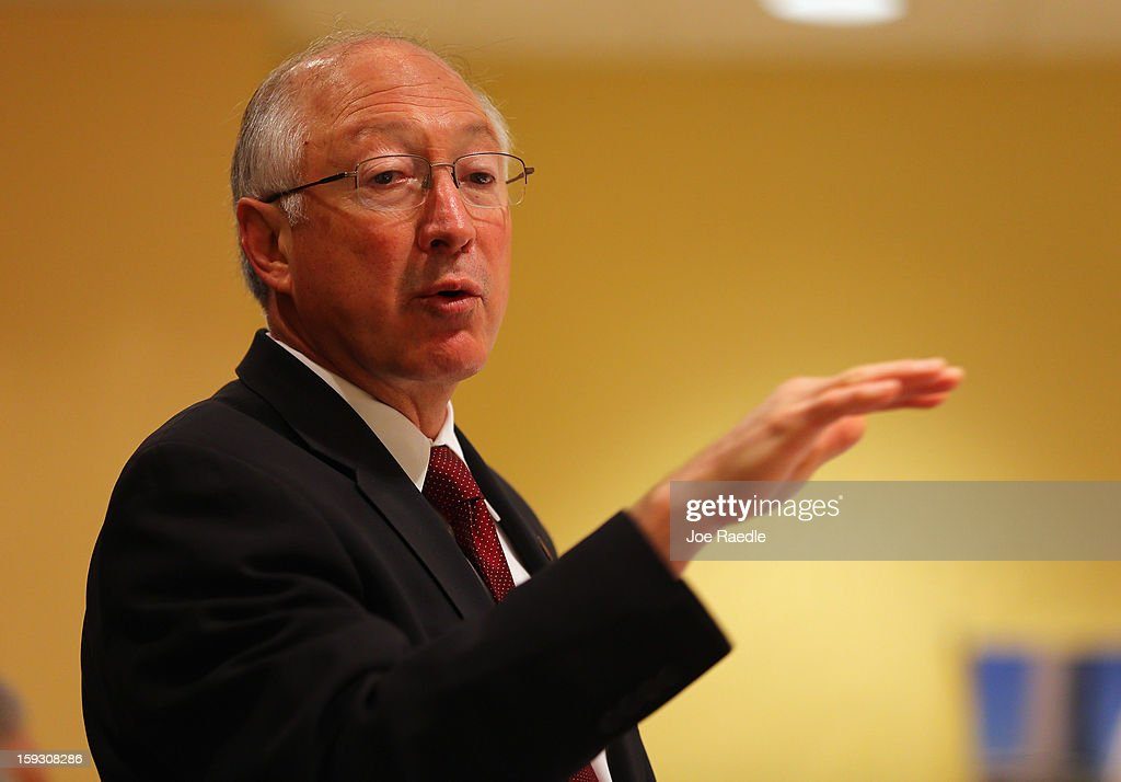 Interior Secretary Ken Salazar speaks during a tourism and conservation discussion with the Greater Miami Chamber of Commerce on January 11, 2013 in Miami, Florida. Salazar answered questions on the federal government possible campaign to persuade people to come to America for the so called 'Medical tourism.'