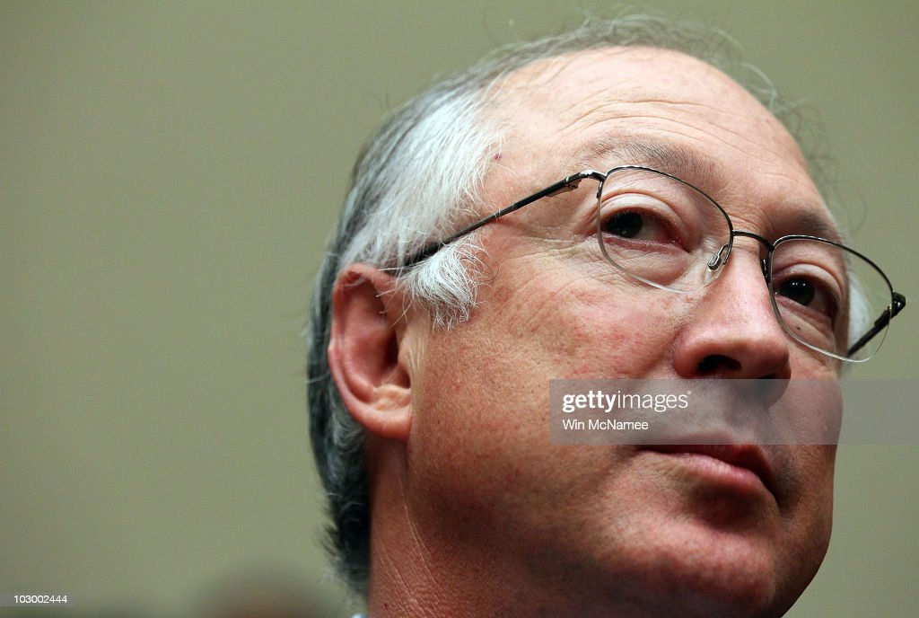 U.S. Interior Secretary <a gi-track='captionPersonalityLinkClicked' href=/galleries/search?phrase=Ken+Salazar&family=editorial&specificpeople=228558 ng-click='$event.stopPropagation()'>Ken Salazar</a> testifies before the House Energy and Commerce Committee and Energy and Environment Subcommittee's joint hearing July 20, 2010 in Washington, DC. The committees met to hear testimony on the 'Role of the Interior Department in the Deepwater Horizon Disaster.'