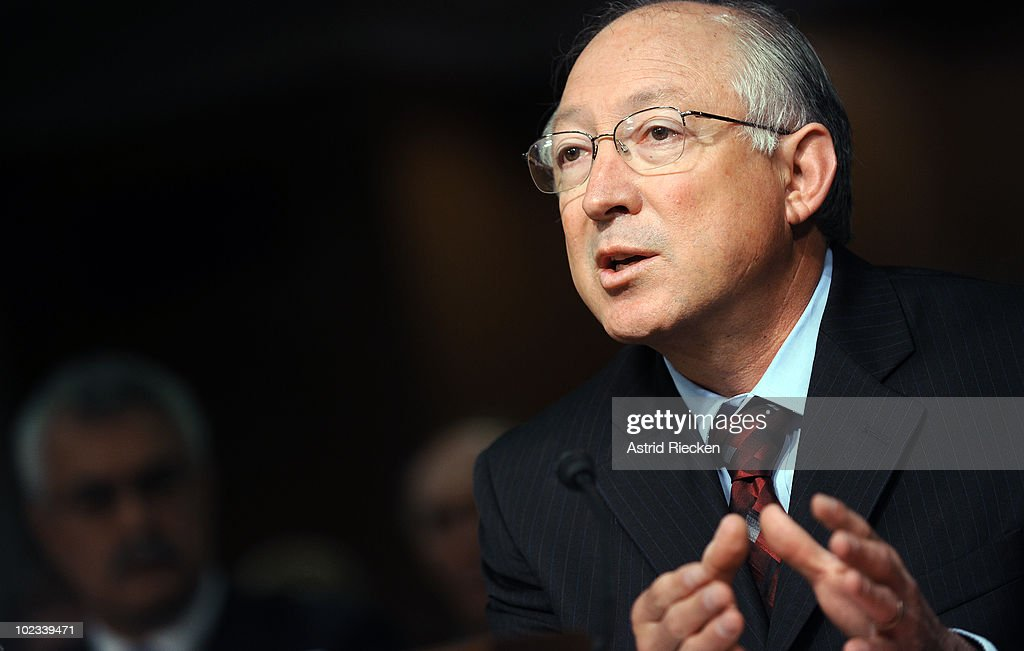 U.S. Interior Secretary <a gi-track='captionPersonalityLinkClicked' href=/galleries/search?phrase=Ken+Salazar&family=editorial&specificpeople=228558 ng-click='$event.stopPropagation()'>Ken Salazar</a> testifies during a Interior, Environment and Related Agencies Subcommittee hearing on Minerals Management Service reorganization June 23, 2010 in Washington, DC. The hearing was in regards to reforms to the oversight of offshore oil and gas drilling.