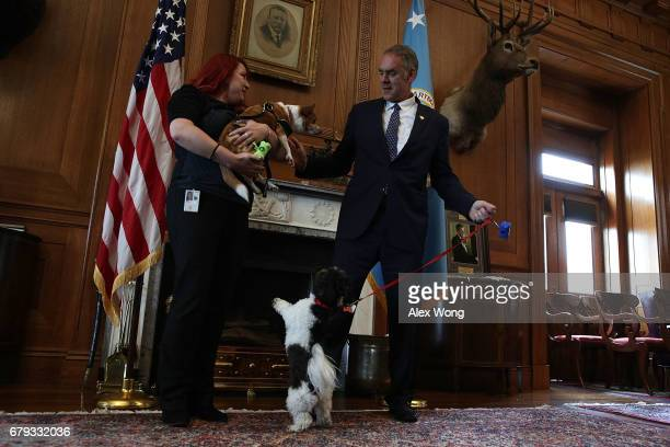 S Interior Secretary Ryan Zinke and his dog Ragnar greet an employee and her dog in Zinke's office May 5 2017 at the Interior Department in...