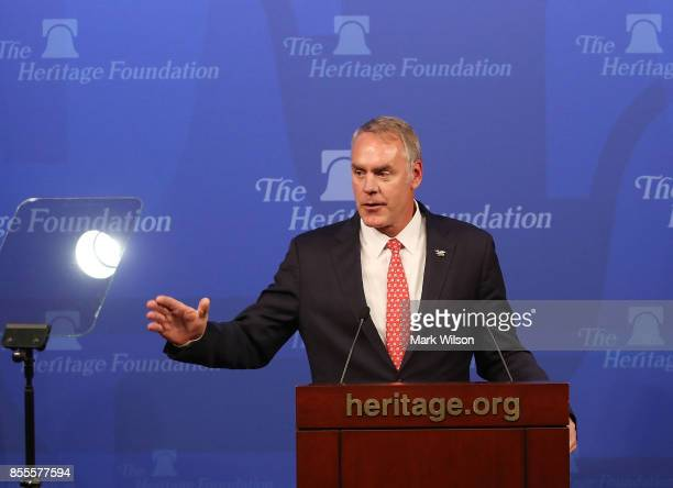 Interior Secretary Ryan Zinke delivers a speech billed as 'A Vision for American Energy Dominance' at the Heritage Foundation on September 29 2017 in...