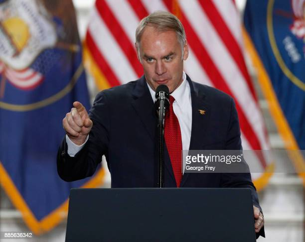 Interior Secretary Ryan Zinke gives a speech before US President Donald Trump arrives at the Rotunda of the Utah State Capitol on December 4 2017 in...
