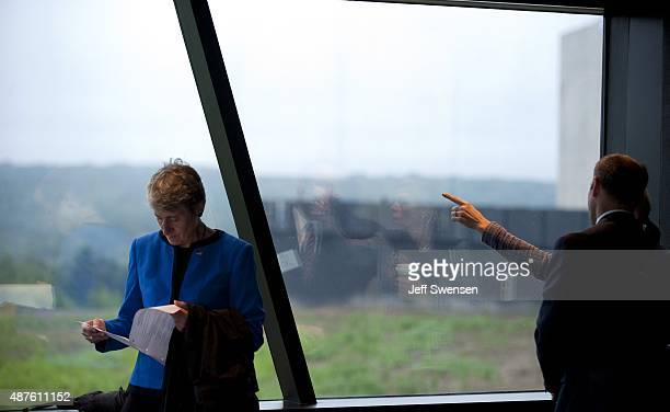 Interior Secretary Sally Jewell collects her thoughts before speaking at the visitor center at the Flight 93 National Memorial on September 10 2015...