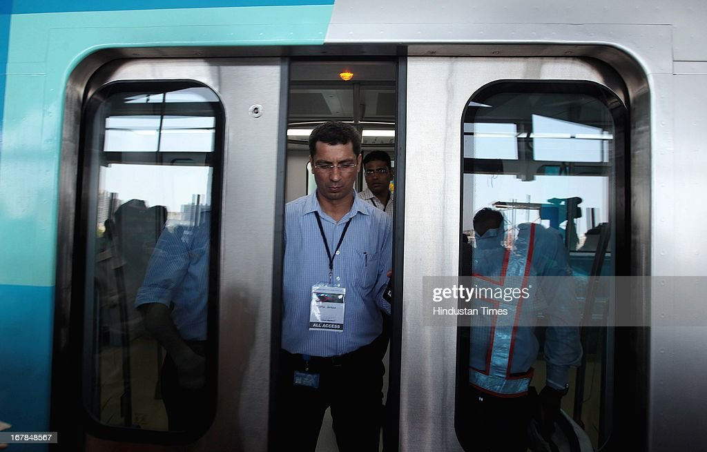 Interior shots of Metro during its first successful run at Versova, Andheri West on May 1, 2013 in Mumbai, India. Maharashtra's first Metro from Versova to Airport Road in Mumbai will be commissioned in September.