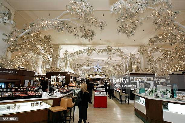 Interior shots of Saks Fifth Avenue at the launch of the Holiday Season with 5th Annual Snowflake Spectacular at Saks Fifth Avenue on November 24...