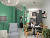 Interior small apartments. 3d illustration