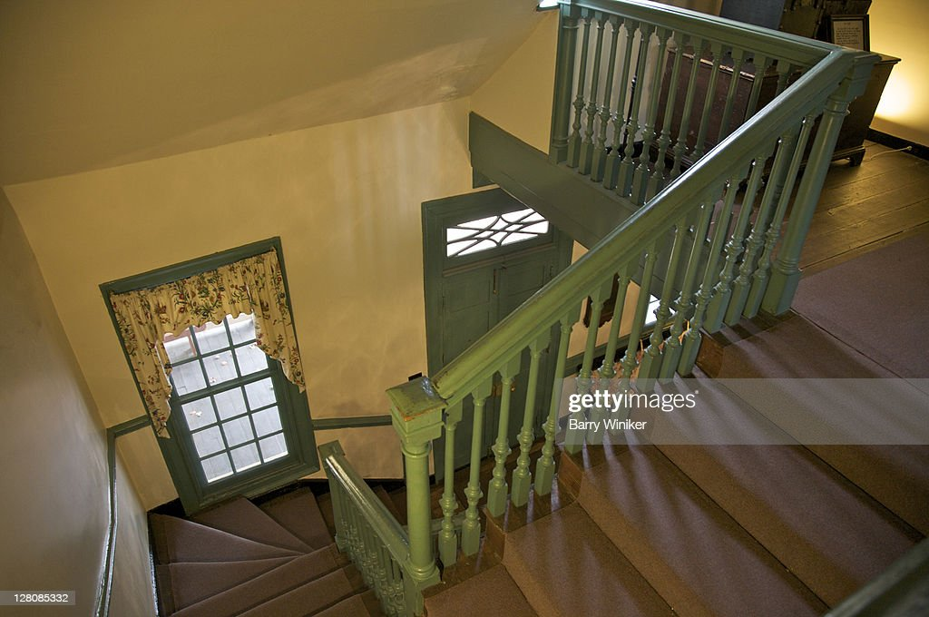 Interior staircase at Rising Sun Tavern, residence built 1760 by Charles Washington, youngest brother of George Washington, Fredericksburg, Virginia, U.S.A. : Stock Photo