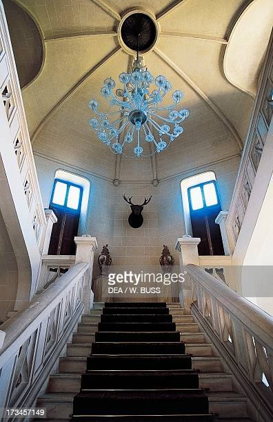 Interior staircase Beaumanoir Castle Le Leslay Brittany France