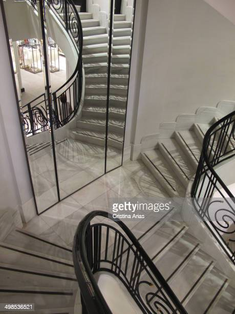 Interior staircase in the Zara store in Madrid's Gran Via on the renovation completed in 2013 have been used all the details for a renewal of the...