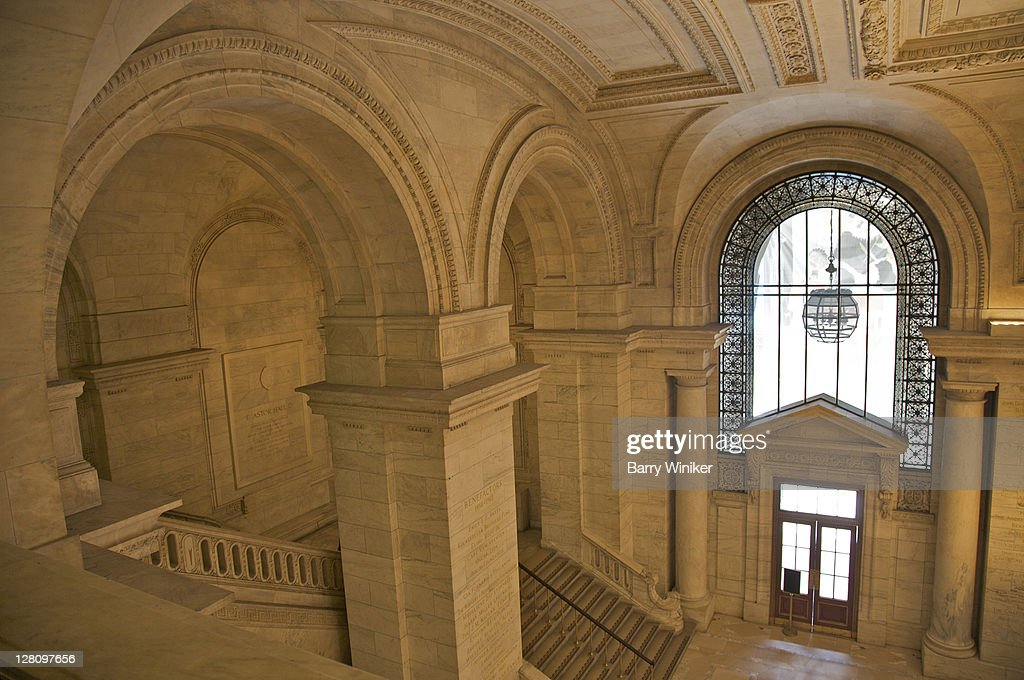 Interior steps, columns and arches of main entrance to New York Public Library, New York