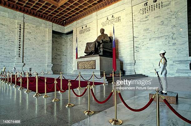 Interior vault of the Chiang Kaishek Memorial Hall which contains a statue of President Chiang Kaishek Taiwan China