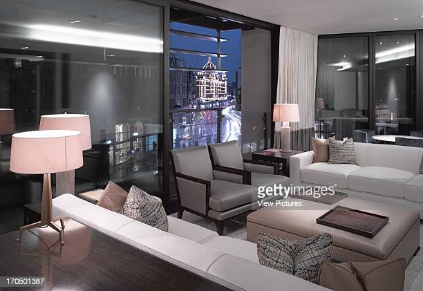 Interior view at dusk looking towards Harrods One Hyde Park Luxury Flats Europe United Kingdom Rogers Stirk Harbour Partners