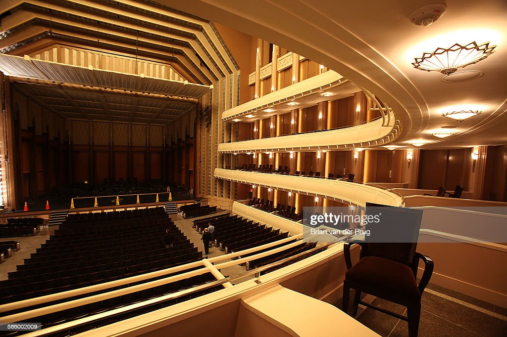 Interior view from a balcony box toward the stage of the 2050–seat Reynolds Hall complete with a full orchestra pit capable of seating up to 100...