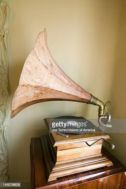 Interior view of antique record player with megaphone in Casa Mila by Antoni Gaudi built between 19051911 Barcelona Spain