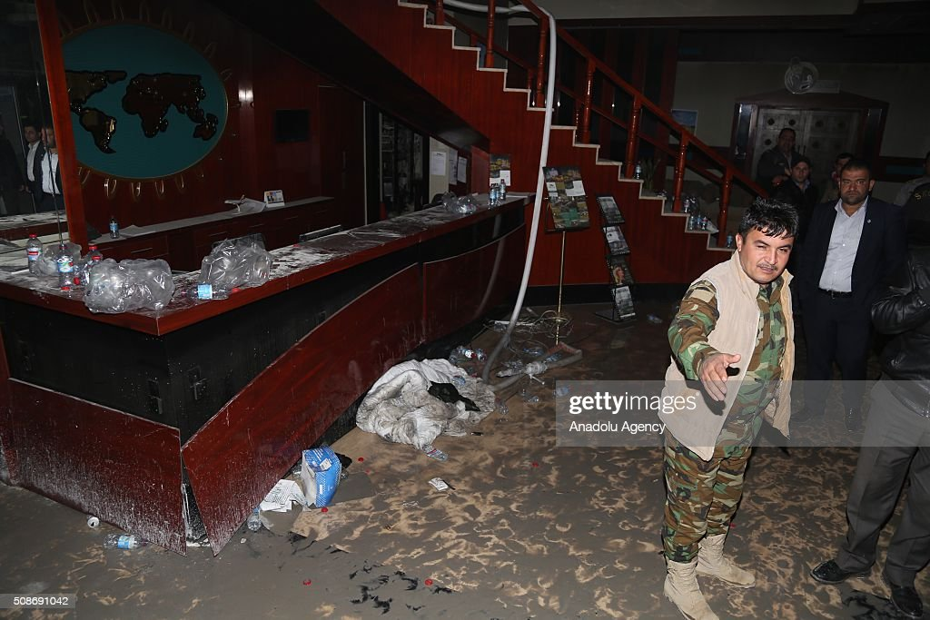 Interior view of Capitol Hotel after a fire incident broke out at a massage center of the hotel in Erbil, Iraq on February 6, 2016. At least 19 people have been killed and dozens have been injured in a hotel fire in the capital of Iraq's.