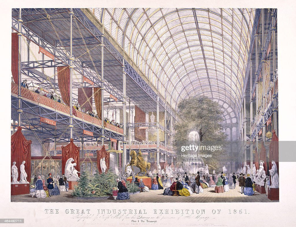 Interior view of Crystal Palace during the Great Exhibition at Hyde Park London in 1851