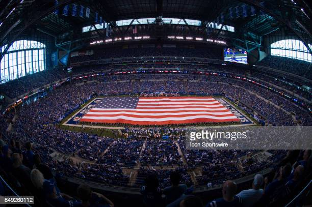 Interior view of Lucas Oil Stadium with the American flag displayed during the NFL game between the Arizona Cardinals and Indianapolis Colts on...