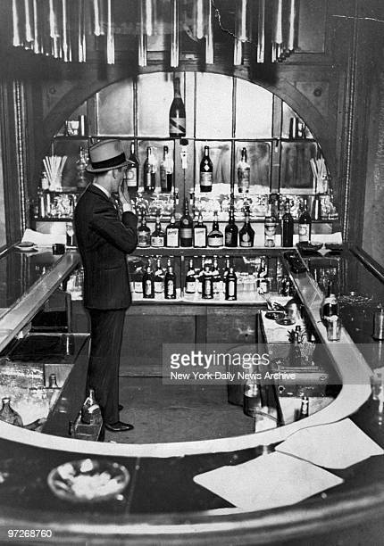 Interior view of Mona Lisa Club speakeasy following a Prohibition raid