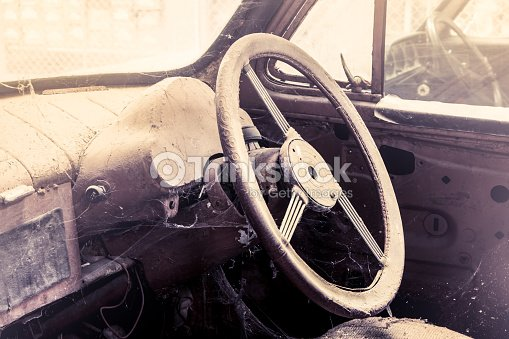 interior view of old dirty vintage car stock photo thinkstock. Black Bedroom Furniture Sets. Home Design Ideas