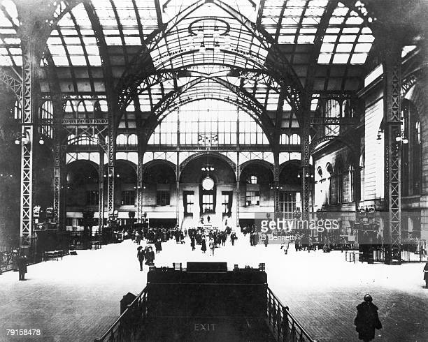 Interior view of Pennsylavia train station New York New York early 1910s