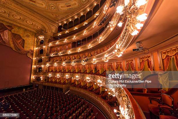 Interior view of stage and theatre seats at Colon Theatre , Buenos Aires, Argentina